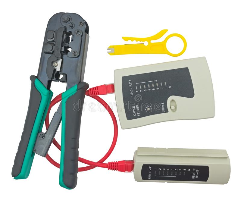 Network tester and crimping tool with RJ45 connector stock image