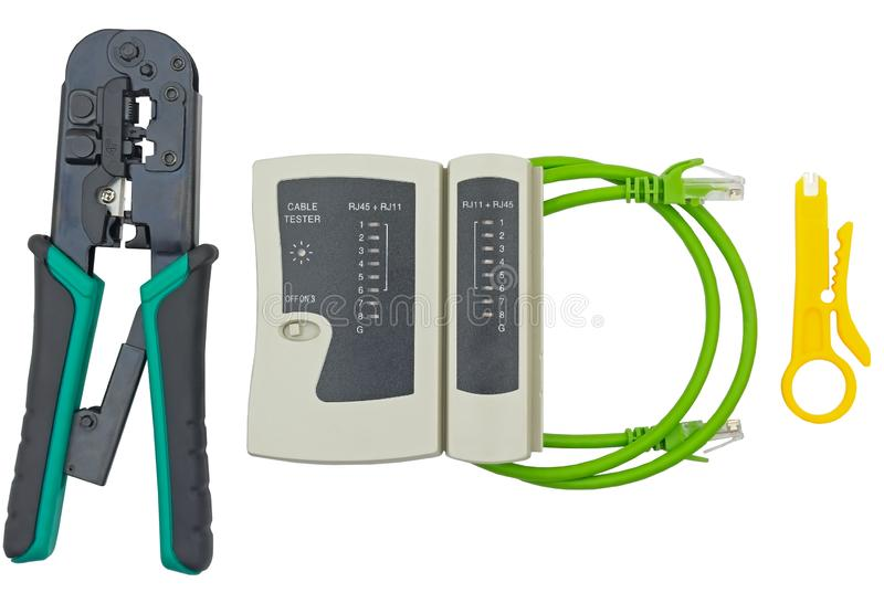 Network tester and crimping tool with RJ45 connector royalty free stock image