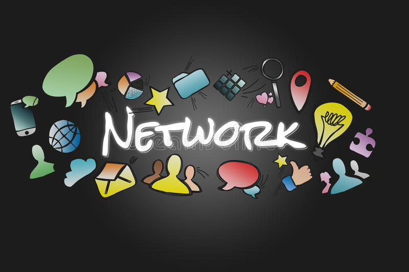 Network title isolated on a background and surounded by multimedia icons - Internet concept. View of a Network title isolated on a background and surounded by stock illustration