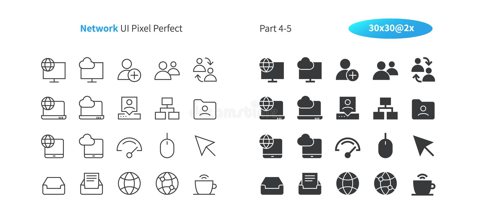 Network UI Pixel Perfect Well-crafted Vector Thin Line And Solid Icons 30 2x Grid for Web Graphics and Apps. Simple vector illustration