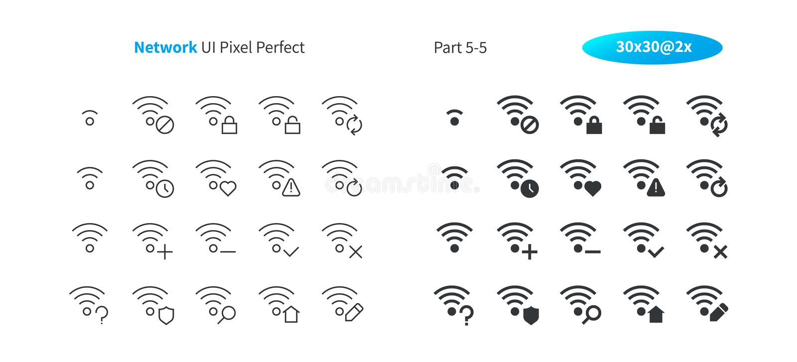 Network UI Pixel Perfect Well-crafted Vector Thin Line And Solid Icons 30 2x Grid for Web Graphics and Apps. Simple royalty free illustration