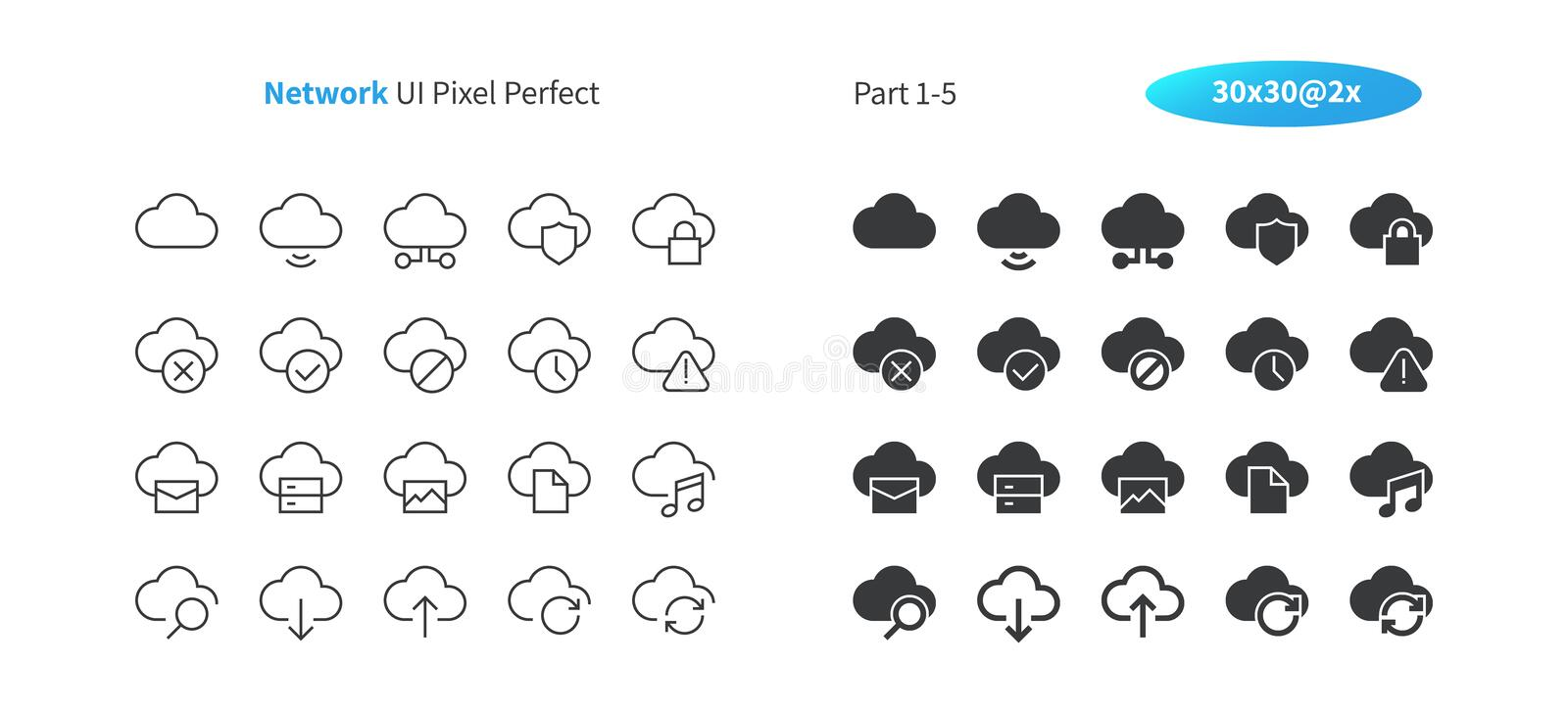 Network UI Pixel Perfect Well-crafted Vector Thin Line And Solid Icons 30 2x Grid for Web Graphics and Apps. stock illustration