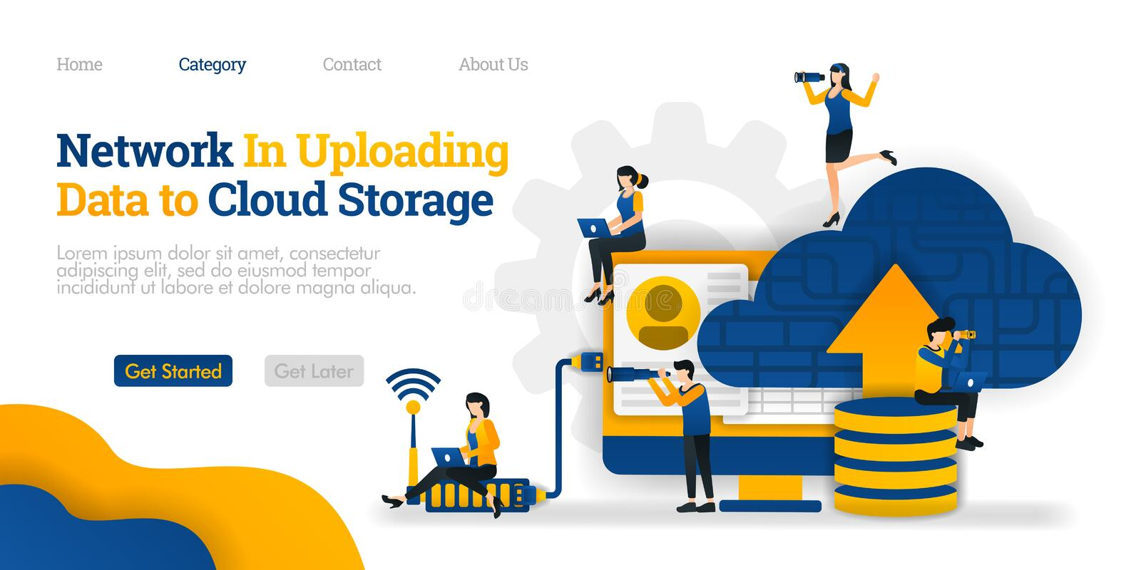 Network in Uploading data to Cloud Storage. upload data on  database to cloud for sharing. Vector flat illustration concept, ads. Network in Uploading data to stock illustration