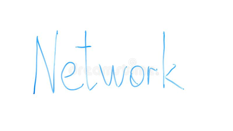 Network word written on glass, computer or social links between people and deals royalty free stock photography