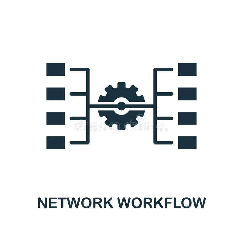 Network Workflow icon. Monochrome style design from big data icon collection. UI. Pixel perfect simple pictogram network workflow royalty free illustration