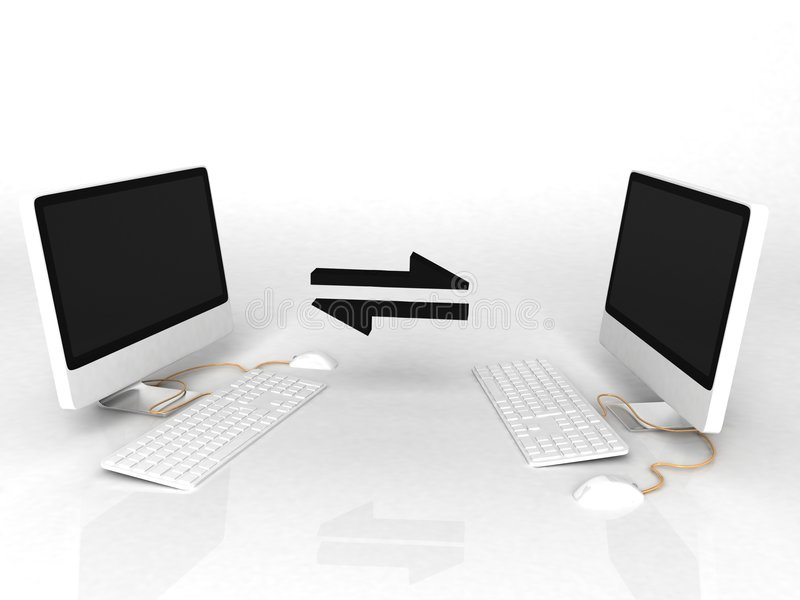 Networked computers. A view of two computer monitors and keyboards with interactive arrows indicating an interconnection or network vector illustration