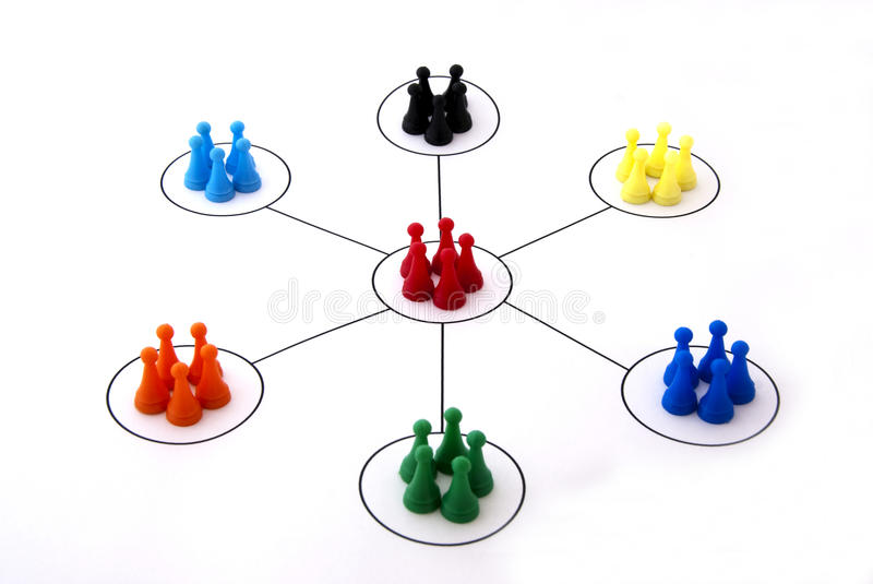 Networking. Concept with colorful plastic people or checkers - , organizational groups, or workgroups - Business concept - the focus is on red people group stock photos