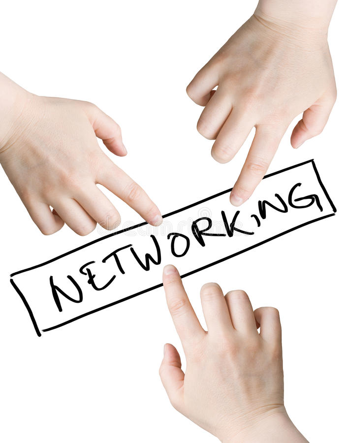 Networking. Illustration of three hands pointing to the networking sign isolated on the white background royalty free stock photos