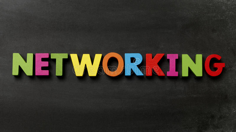 Networking. Blackboard with Networking in multicolour letters royalty free stock photos