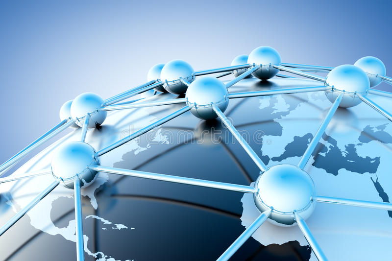 Networking concept. Networking and internet concept with globe world map