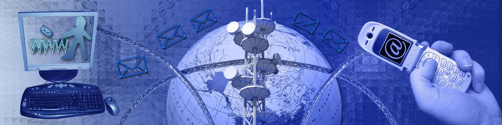 Networking and connectivity. The abstract background of this banner / header has a grid-like pattern. The big globe, cellphone, cables, communication tower and stock illustration