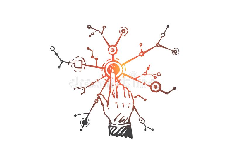 Networking, connectivity, branching concept sketch. Hand drawn isolated vector royalty free stock image