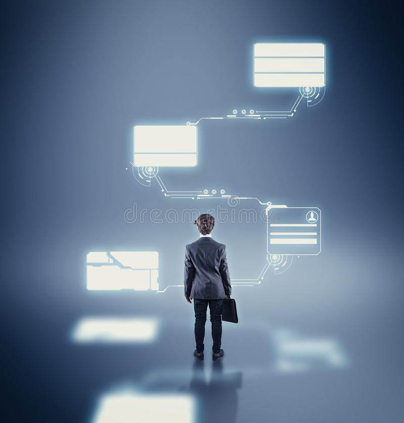 Businessman and networking data stock photos