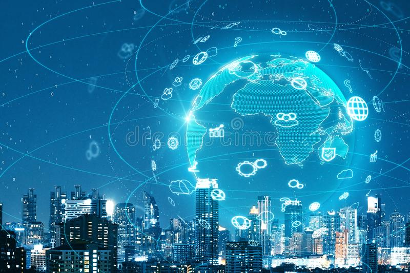 Networking and distributed concept. Digital globe with social network icons on dark night city background. Networking and distributed concept. 3D Rendering stock photo
