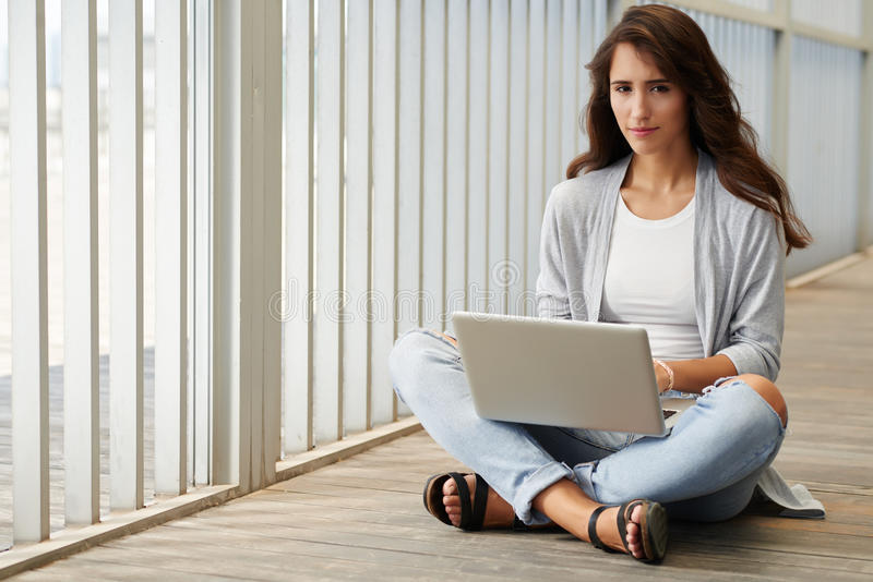 Networking girl stock photography