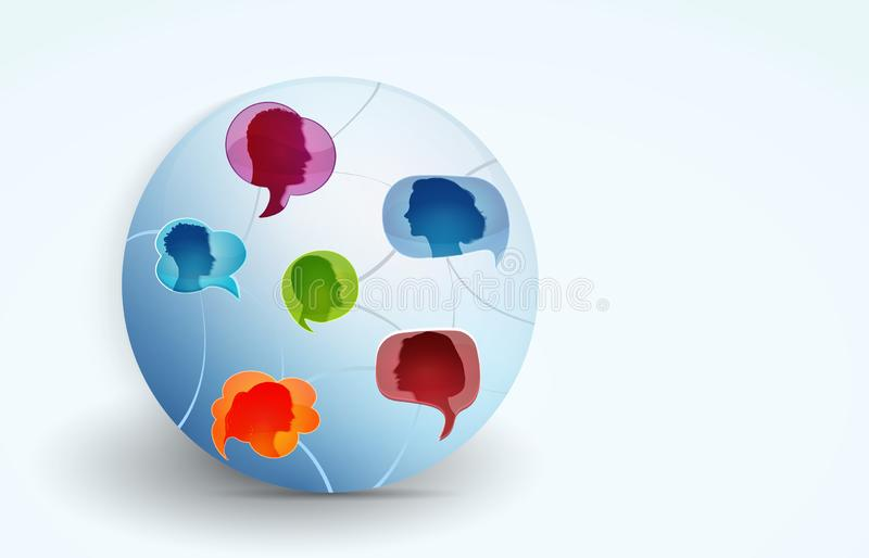 Networking. Global communication between a group of connected multi-ethnic colored people. Social network and information. Speech stock photography