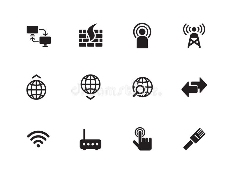 Download Networking Icons On White Background. Stock Vector - Illustration: 33445679