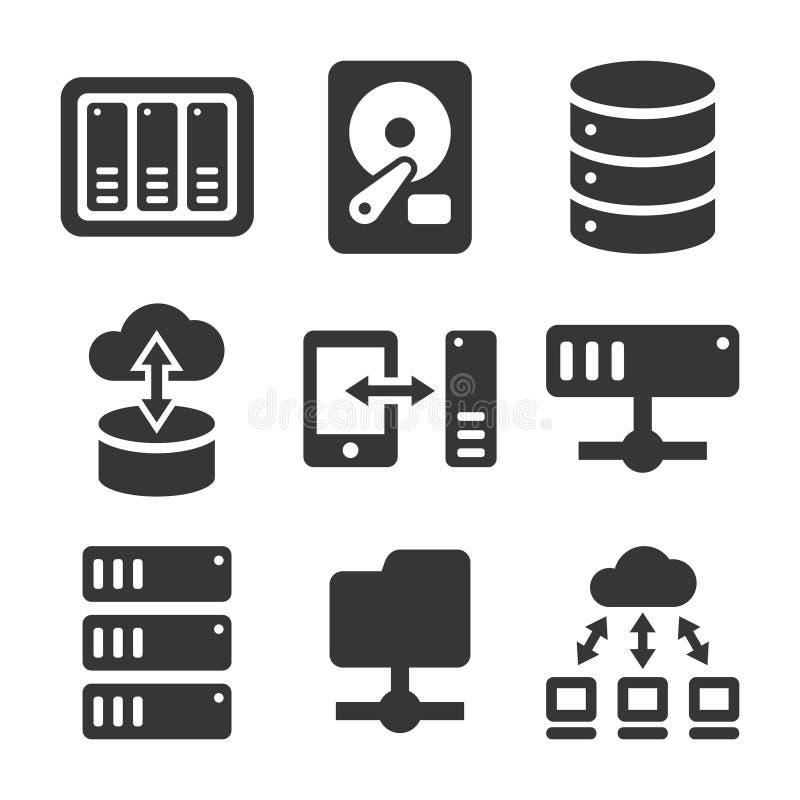 Networking kartoteki NAS i części serweru ikony Ustawiać wektor ilustracja wektor