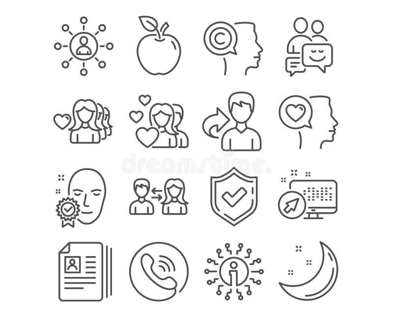 Networking, kobiety miłość i twarz, weryfikowaliśmy ikony Komunikacja, Cv dokumenty i para znaki, wektor ilustracja wektor