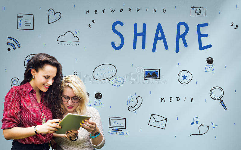Networking Media Sharing Icons Graphic Concept stock photography