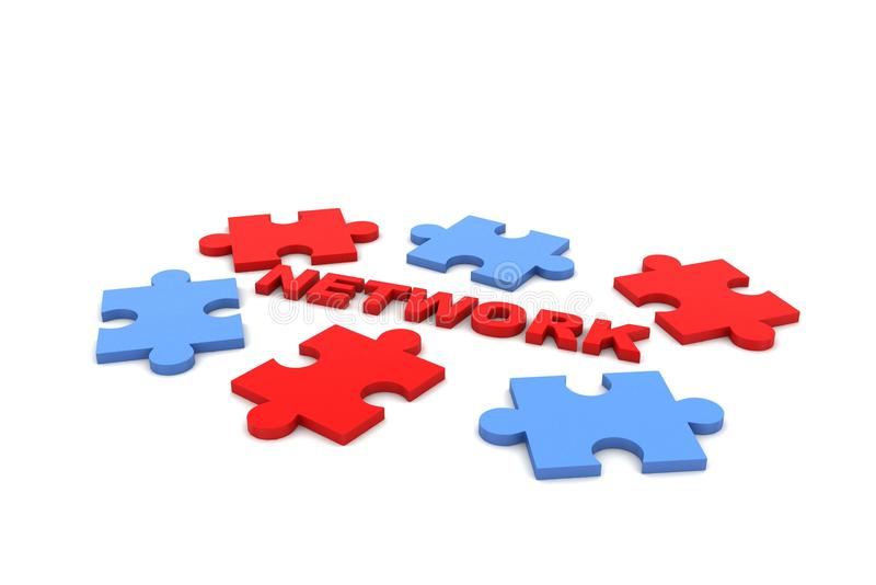 Networking puzzle. In white background stock photo