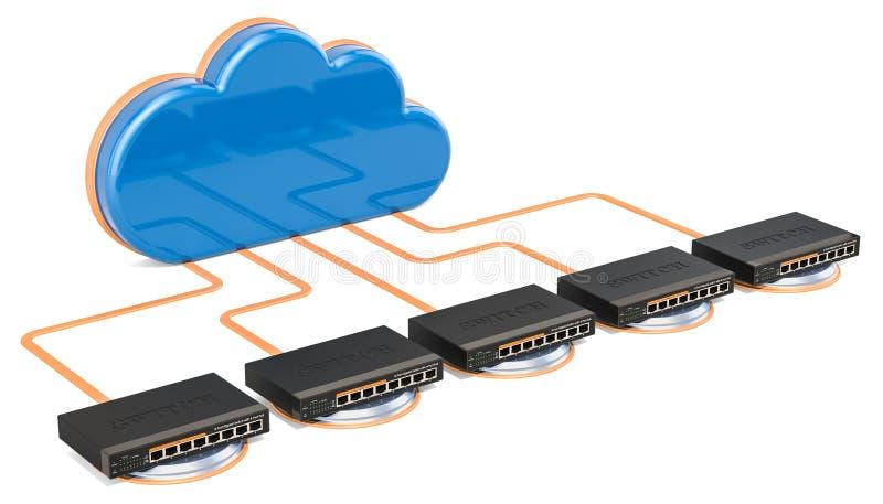 Networking związku pojęcie Komputer chmura z sieci switc ilustracja wektor
