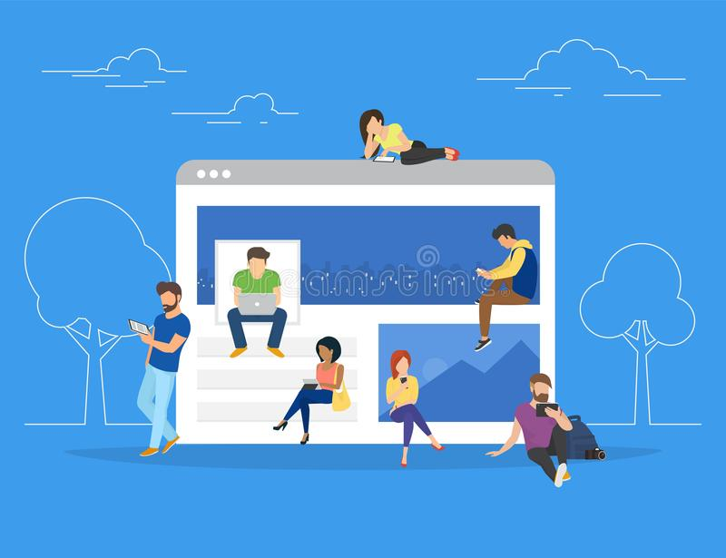 Networks webpage concept vector illustration of young people using mobile gadgets. Such as laptop, digital tablet and smartphone for social networks, news and vector illustration