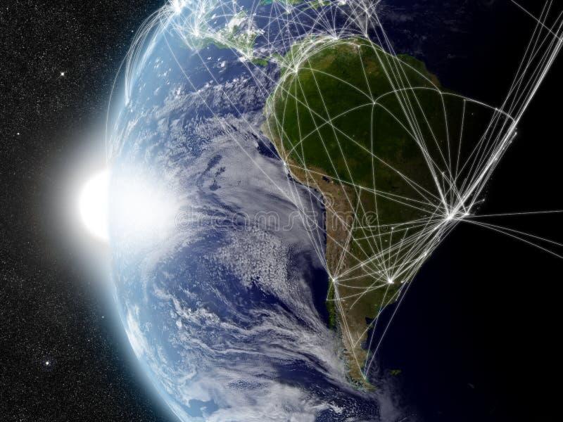 Netz über Südamerika lizenzfreie abbildung