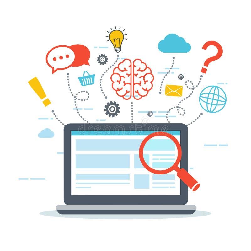 Netz-Analytik und Informationen SEO Optimierung lizenzfreie abbildung