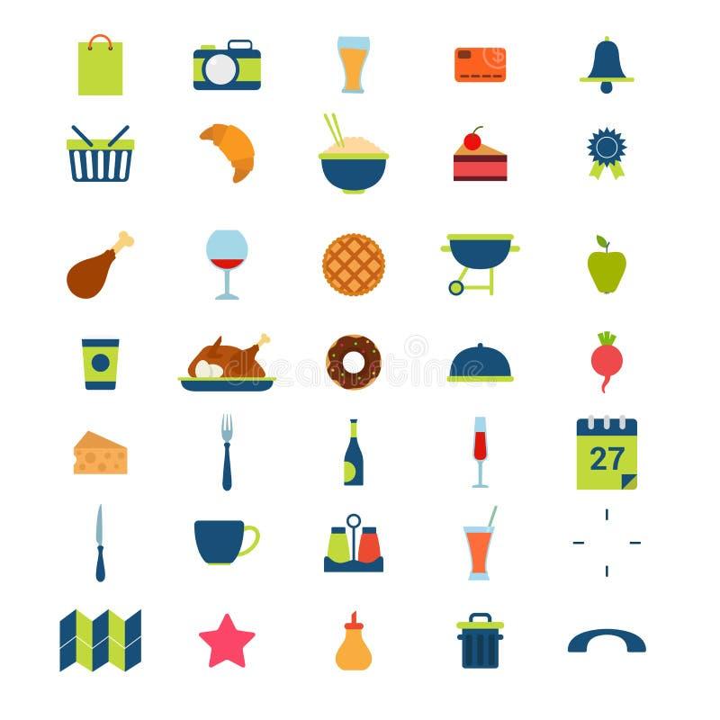 Netz-APP-Ikonen des flachen Restaurantmenülebensmittelgetränkegetränks bewegliche lizenzfreie abbildung