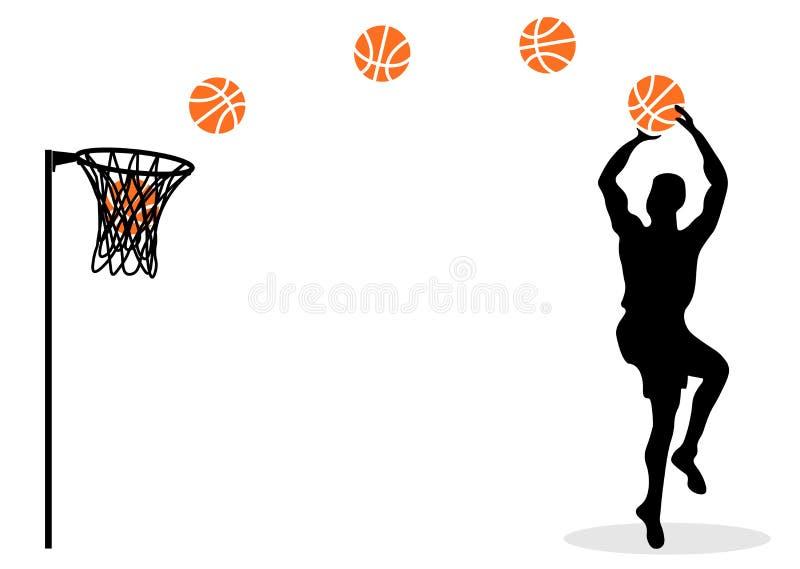 Netz-Basketball Der Spieler in einem Sprung Mit einem Ball graphiken Das silhouette lizenzfreie abbildung