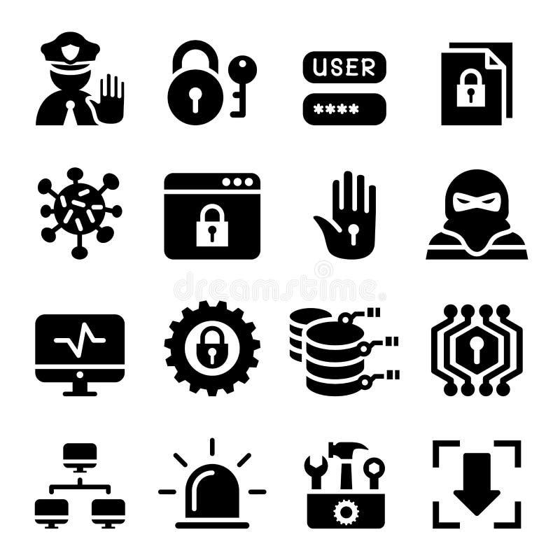 Netz-, Computer-, Daten- und Internet-Sicherheitsikonensatz vektor abbildung