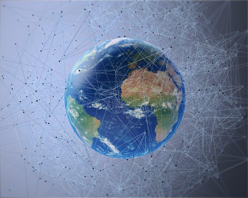 Netz 3D umgebende Erde stock abbildung