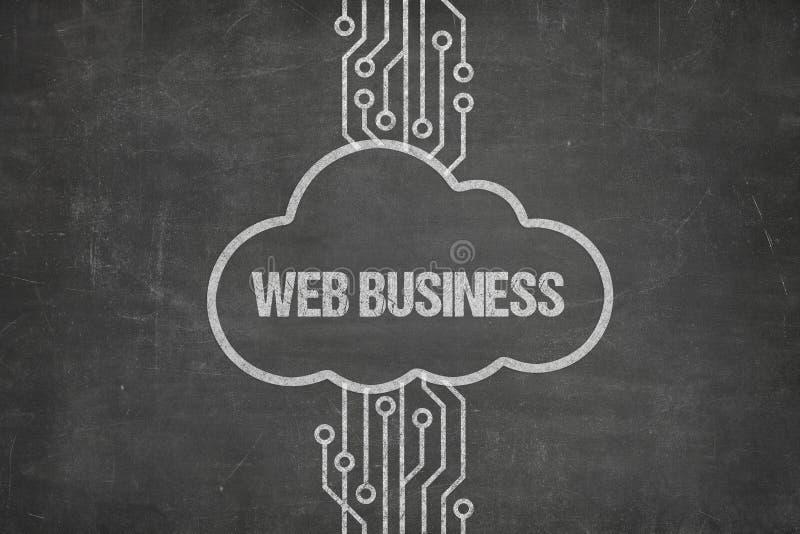 Netz, das an Netz-Geschäfts-Text in der Wolke auf Tafel anschließt lizenzfreie stockbilder