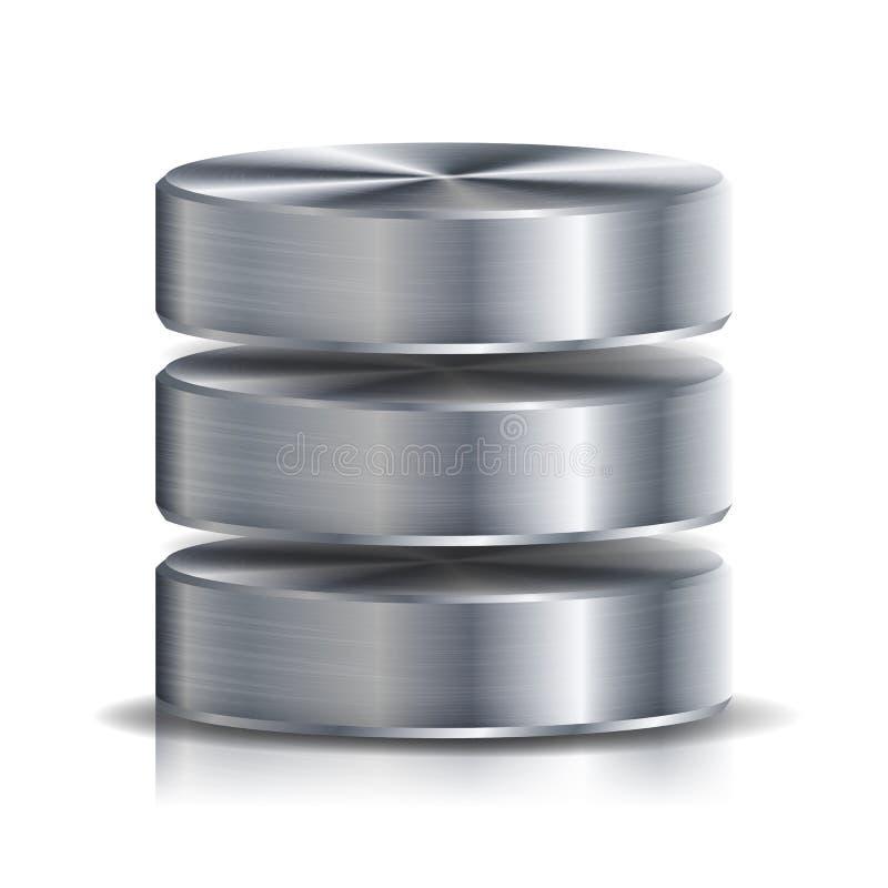 Netz-Datenbank-Disketten-Ikonen-Vektor In hohem Grade ausführliche Illustration der Computer-Festplatte Silber, Chrome-Metall Ers stock abbildung