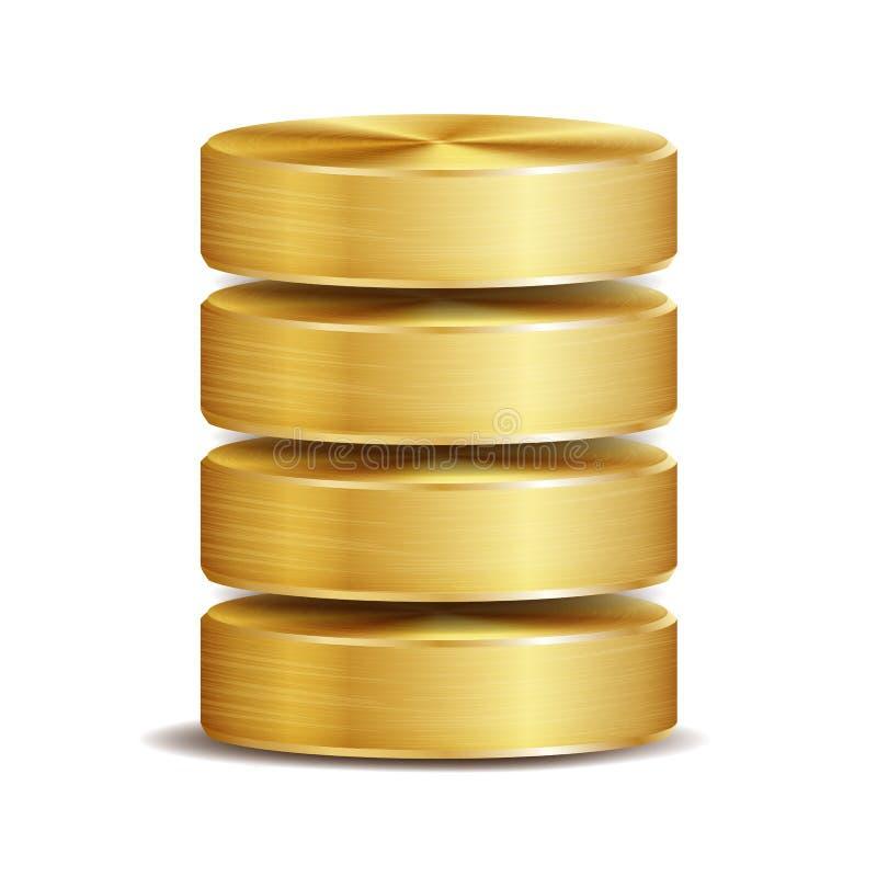 Netz-Datenbank-Disketten-Ikonen-Vektor Realistische Illustration der Computer-Festplatte goldenes Metall Ersatzkonzept lokalisier vektor abbildung