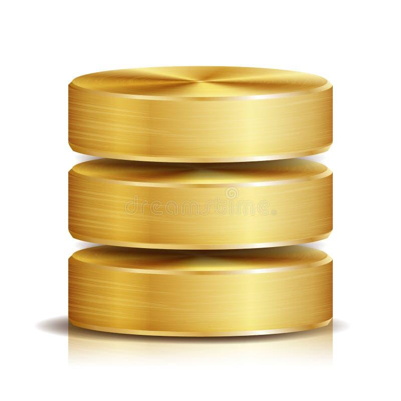Netz-Datenbank-Disketten-Ikonen-Vektor Realistische Illustration der Computer-Festplatte goldenes Metall Ersatzkonzept lokalisier stock abbildung