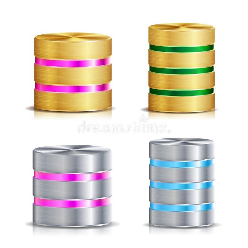 Netz-Datenbank-Disketten-Ikonen-Vektor-Satz Realistische Illustration der Computer-Festplatte Goldenes Metall, Silber, Chrome Ers vektor abbildung