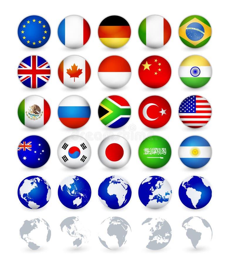 Netz der Landesflaggen G20 knöpft Kugeln stock abbildung