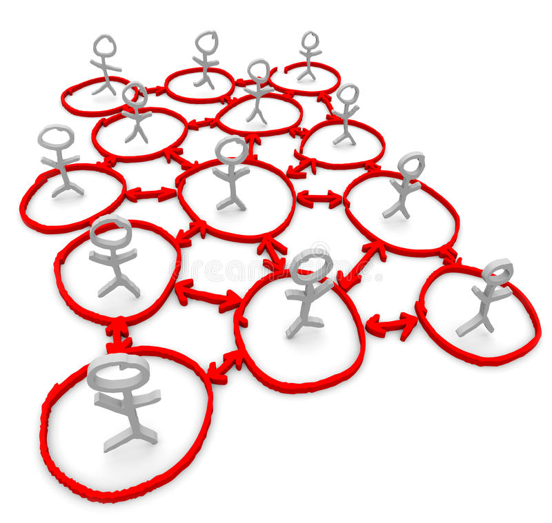Netz der Leute - Zeichnung der Kreise und der Pfeile lizenzfreie abbildung