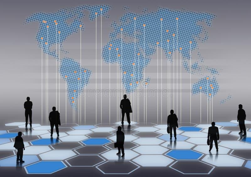 Netz des globalen Geschäfts des generischen Geschäftsmannes stockbilder