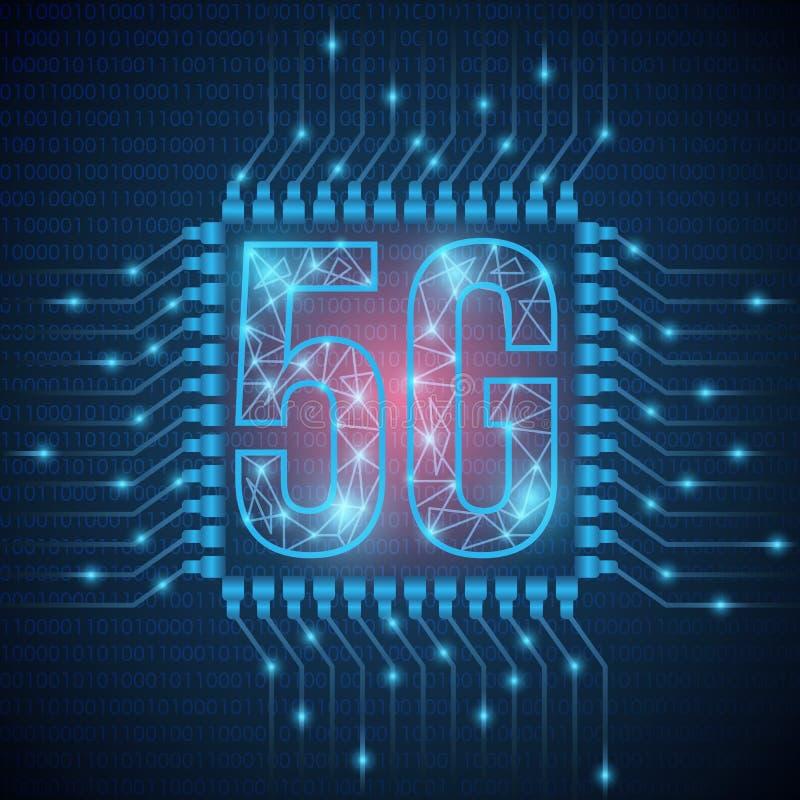 Netz des Netzes 5g schließt Satelliten um die Erde an Globales Netz des abstrakten Begriffs schließen und Kommunikationen in eine stock abbildung