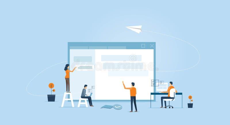 Netz entwickeln sich und Webdesignteam lizenzfreie abbildung