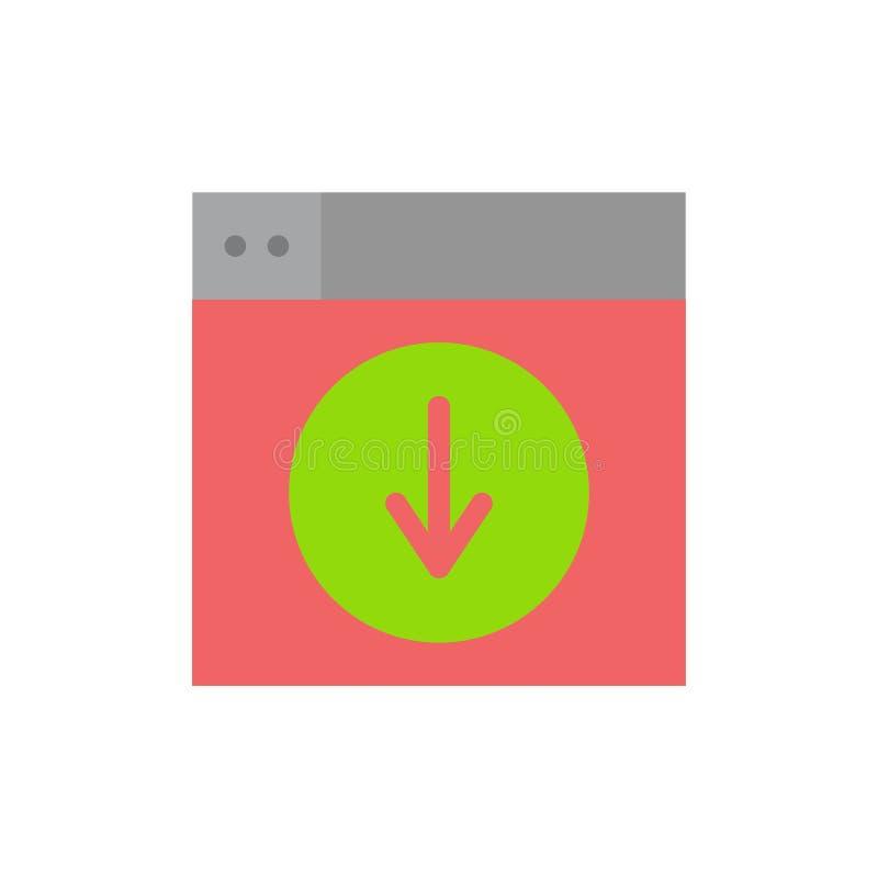 Netz, Entwurf, Download unten Anwendung flache Farbikone Vektorikonen-Fahne Schablone stock abbildung