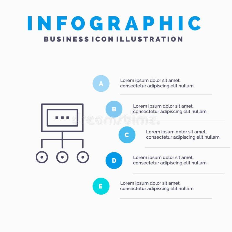 Netz, Geschäft, Diagramm, Diagramm, Management, Organisation, Plan, Prozesslinie Ikone mit infographics Darstellung mit 5 Schritt lizenzfreie abbildung