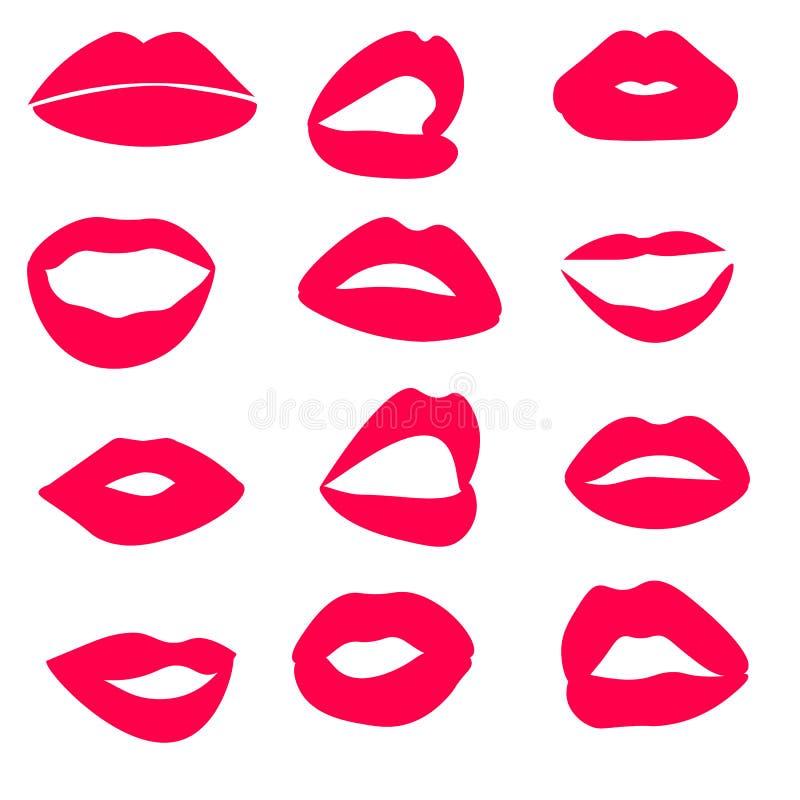 Netz-Hoch führte glatte Lippen und Mundillustration einzeln auf Er?ffnen Sie und schlie?en Sie lizenzfreie abbildung