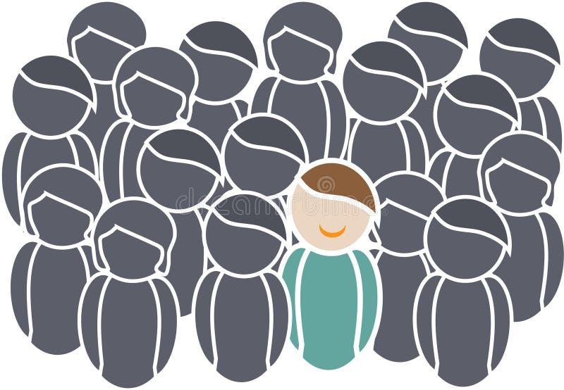 Netz-Ikonen, die Leute mit positiver und negativer Haltung zeigen vektor abbildung