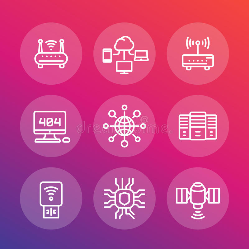 Netz, Internet-Datentechnologielinie Ikonen eingestellt lizenzfreie abbildung
