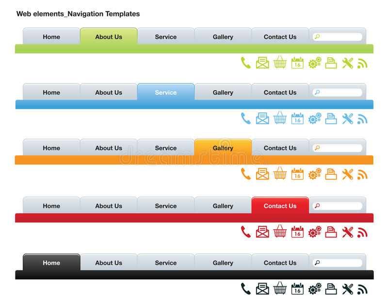 Netz-Navigations-Schablonen stock abbildung