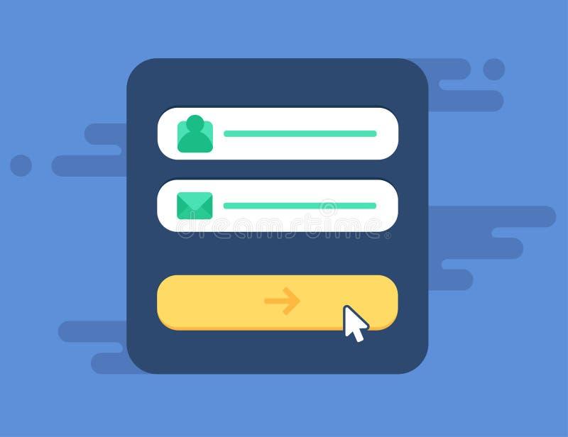 Netz-Schablone der Computer-Anmeldungs-Form lizenzfreie abbildung